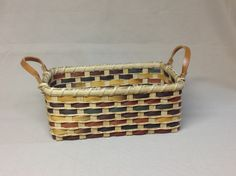 Hand Woven Rectangular Basket, Harvest Colors, Light Chestnut Leather Side Handles by DiannesBaskets on Etsy, $28. Cute!