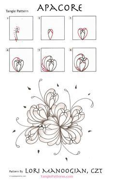 flower drawings How to draw APACORE - Online instructions for drawing CZT® Lori Manoogian's Zentangle® pattern: Apacore. Continue reading: How to draw APACORE Related Stories How to draw C-VIEW How to draw SCALLAMP Exciting news f Zentangle Drawings, Doodles Zentangles, Zentangle Patterns, Doodle Drawings, Flower Drawings, How To Zentangle, Patterns To Draw, Zen Doodle Patterns, Drawing Flowers