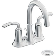 Moen S6510 Icon Chrome Two-Handle Bathroom Faucet with Drain   Overstock.com Shopping - The Best Deals on Bathroom Faucets