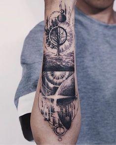 Search inspiration for a Blackwork tattoo. Space Tattoo Sleeve, Geometric Sleeve Tattoo, Forearm Sleeve Tattoos, Best Sleeve Tattoos, Tattoo Sleeve Designs, Forarm Tattoos, Leg Tattoos, Black Tattoos, Body Art Tattoos