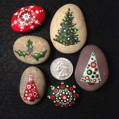 Original Hand Painted Red Green Christmas Xmas Mandala Dot Rocks Holiday Lot - 6 #DotPainting