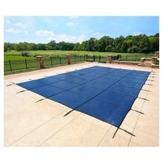 WaterWarden Safety Pool Cover for 16' x 40' In Ground Pool - Blue Mesh