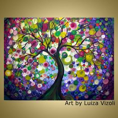 Olive Tree Original Whimsical Fantasy Landscape Oil Painting Large Canvas by Luiza Vizoli 40x30 on Etsy, Sold