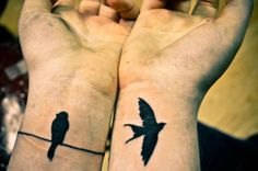 """@Andrew Lurieé Macedo Owner's story: After a year of not self harming after five years of continuous grief, I treated myself to this tattoo set. I used to be the bird on the left, stuck wondering what to do and where to go but doing nothing about it. I am now free and very much so the bird on the right. Also inspired by Regina Spektor's """"Two Birds"""""""