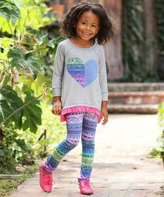 Look what I found on #zulily! Gray & Fuchsia Heart Tunic & Abstract Leggings - Toddler & Girls by Freckles + Kitty #zulilyfinds