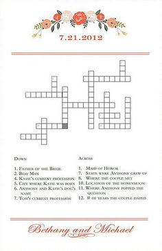 The perfect icebreaker, you'll definitely get guests talking with this cute and custom crossword puzzle ($35).