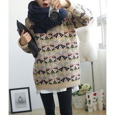 Geometric Pattern Loose-Fitting Sweater