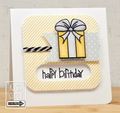 adorable little tag/card from The Alley Way Stamps ... white, yellow and gray with black sentiment and lines ...  luv the design ...