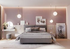 You can also add a little texture to your pink headboard feature wall by adding slats. Accentuate the finished look with some stylish bedroom pendant lights too. These gold ones are the IC Lights S Style Pendant. Slow Design, Home Design, Interior Design, Modern Design, Design Ideas, Bedroom Colors, Bedroom Decor, Bedroom Ideas, Bedroom Storage