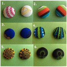 African earrings, African Print, African fabric, button earrings on Etsy, $5.00