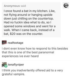 Inadvertently offering aid to a very grateful vampire