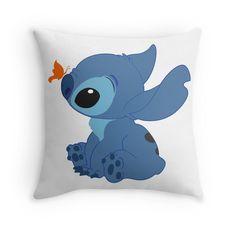 'Stitch' Throw Pillow by alexbookpages Lilo Stitch, Lilo And Stitch Ohana, Cute Stitch, Baby Disney, Disney Love, Stitch Kingdom, Stitch Backpack, Cute Disney Outfits, Stitch Drawing