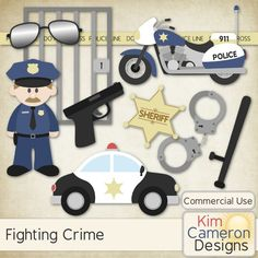 Fighting Crime by Kim Cameron Designs - Help fight crime with the easy templates! Includes a PSD and separate PNG layers for a badge, baton, gun, handcuffs, jail, motorcucle, police car, policeman, sunglasses and tape. Commercial use ok!