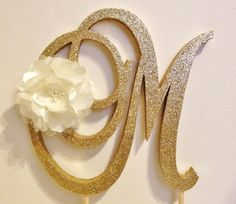 Flower Monogram Cake Topper with Sparkle  by LeandraNDesigns