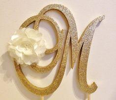 Satin Flower and Glitter Monogram Cake Topper by LeandraNDesigns