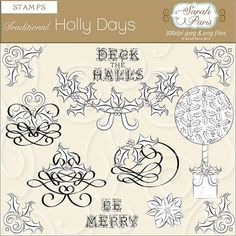 Traditional style holly, scroll ornaments, digi stamps, royalty free, commercial use. Christmas In Paris, Holly Christmas, Create Website, Digi Stamps, Collage Sheet, Digital Collage, All Print, My Images, Digital Scrapbooking