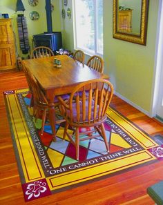 Hand painted vinyl floor mats... GORGEOUS!!!  See link for general tutorial.    http://studiokblog.wordpress.com/page/2/
