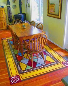 Hand painted vinyl floor mats... GORGEOUS!!!  See link for general tutorial.    http://studiokblog.wordpress.com/page/2/
