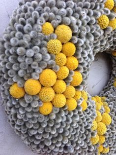 wreath of Craspedia and catkins from the makers garden.Gorgeous!   (by CadeauDeLaNature, on Etsy)