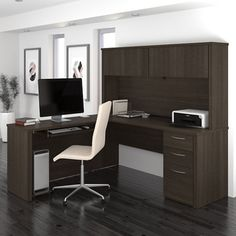 Executive L Desk with Hutch #homeofficefurniture | National Business Furniture