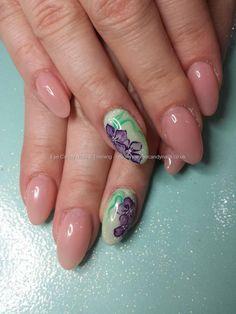 Strawberry slushie gel polish with aquarelle flower nail art