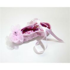 Organza Rhinestone Flower Ballet Slippers in Pink include beautiful satin ribbon ties that wrap around your little one's ankles, elastic ank...