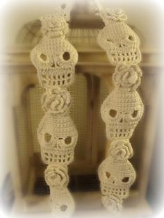 Skull and Roses Crochet Scarf by designer WickedCrochet71. Pattern $8 at Craftsy.