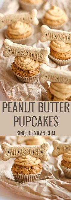 Peanut Butter Pupcakes are fun cupcakes to make for your dog. It's an easy recipe for a dogs birthday he will love the dessert. Peanut Butter Pupcakes are fun cupcakes to make for your dog. It's an easy recipe for a dogs birthday he will love the dessert. Diy Dog Treats, Homemade Dog Treats, Healthy Dog Treats, Puppy Treats, Healthy Meals, Tasty Meals, Healthy Recipes, Healthy Food, Dog Cake Recipes