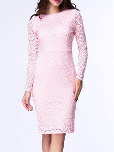 #AdoreWe #Fashionmia Fashionmia Crew Neck Slit Hollow Out Plain Lace Bodycon Dress - AdoreWe.com