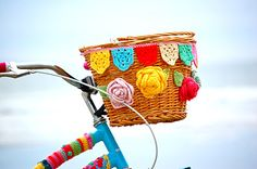 Greedy For Colour: Beach Biking. cool crochet bunting and roses