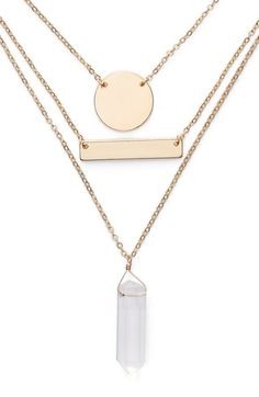 Free shipping and returns on Jules Smith Triple Strand Charm Necklace at Nordstrom.com. A mixed trio of pendants—etched circle, shining bar and crystal point—dangle from slender, graduated chains for a statement-making layered necklace.
