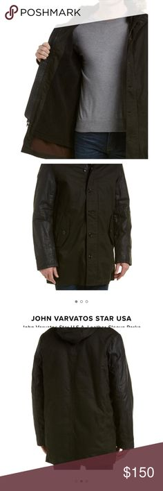 Men's John Varvatos leather sleeve parka Men's John Varvatos leather sleeve 5 star parka. Beautiful condition, barely worn. Cozy & cute black Sherpa lining. John Varvatos Jackets & Coats