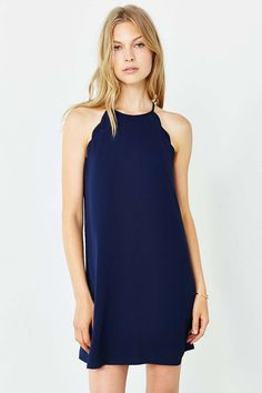 Cooperative High Neck Scallop Frock Dress, navy, size M | Urban Outfitters