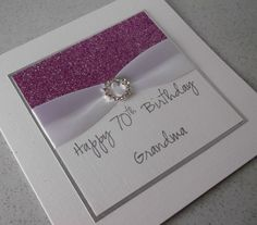 Handmade 70th birthday card, grandma, personalised, any age or name £6.00