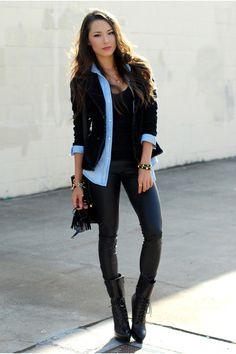Black-bebe-boots-black-pacsun-leggings-sky-blue-sheinside-shirt