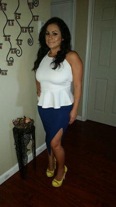 White halter peplum top, high slip blue pencil skirt and a pop of color shoes