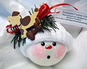 Dog Puppy Christmas Ornament Tree Bulb Hand Painted Glass Snowball Face Themed with a dog house and a food bowl Personalized. $9.95, via Etsy.