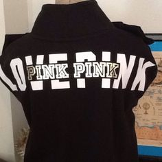 BNWOT VS PINK SWEATSHIRT BNWOT VS PINK SWEATSHIRT fits true to size black sweatshirt with gold foil dog on chest LOVE PINK written in white letters across the back with PINK in gold letters mock turtleneck collar NO TRADES NO OTHER APPS will price drop PINK Victoria's Secret Tops