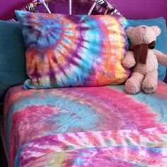Custom made tye dyed sheets by Grace!  One set of 100% cotton sheets and a set of dye= lots of fun!!