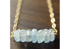Aquamarine Nugget Necklace - 14k Gold - TheWeddingMile.com