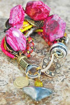 Pink, Yellow and Bronze Artisan Mixed Media Heart Charm Bracelet