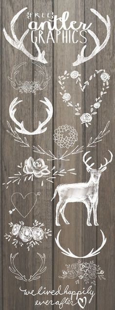 Free Antler Graphics (We Lived Happily Ever After) Hello Everyone! Its been just over a year since I started sharing digital graphic freebies with… Vinyl Projects, Craft Projects, Paper Crafts, Diy Crafts, Wood Crafts, Silhouette Cameo Projects, Silhouette Cameo Freebies, Free Graphics, Chalkboard Art