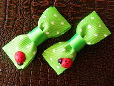 Ladybugs Hair Clips | Double Bows  http://laprensaccessories.com/?page_id=12#ecwid:category=0=product=8423330