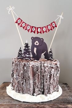 Lumberjack cake from a Baby Bear Lumberjack Birthday Party on Kara's Party Ideas | KarasPartyIdeas.com (27)