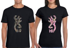 Buck and Doe love tree camo print Couples T-Shirts by Miamigirls