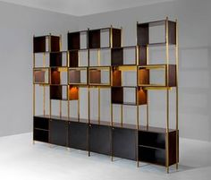 Exceptional Rare Large Library Cabinet by Jules Wabbes, Belgium 1960s | From a unique collection of antique and modern bookcases at https://www.1stdibs.com/furniture/storage-case-pieces/bookcases/