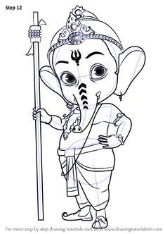 Learn How to Draw Bal Ganesh (Hinduism) Step by Step : Drawing Tutorials Ganesha Sketch, Ganesha Drawing, Lord Ganesha Paintings, Ganesha Art, Ganesha Tattoo, Shri Ganesh, Mandala Drawing, Girly Drawings, Art Drawings Sketches Simple