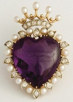 Pearl and Amethyst Heart..