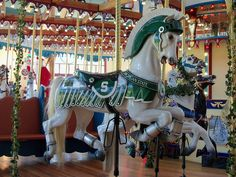 Michigan State Spartan themed horse on the Silver Beach carousel