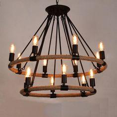 Pendant Lights Arts Rope Chandelier Romantic Craft Style Lighting Iron Ceiling…